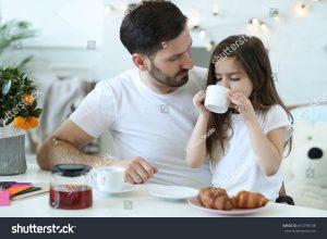 daughter having tea