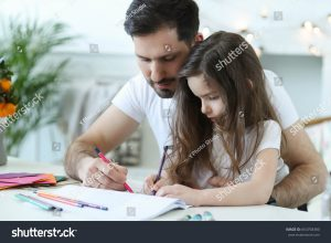 father and daughter colouring