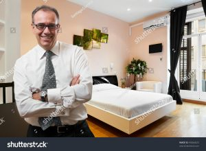 business man in hotel room