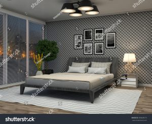 black and white room with floor