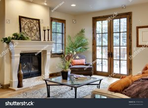 fireplace and french door